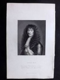 Bentley 1837 Antique Portrait Print. Louis XIV